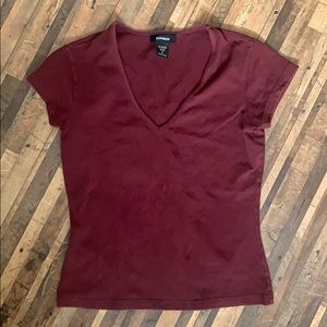 Express V-Neck Maroon T-Shirt
